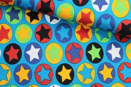 Jersey Art Gallery bunte Sterne auf türkis