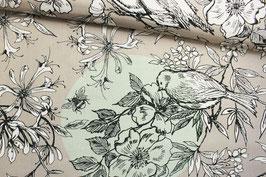 Baumwollstoff Blumen, Vögel und Schmetterlinge
