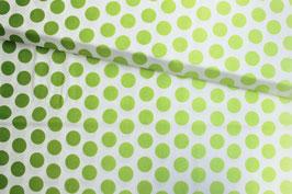 Baumwollstoff großes Punktemuster grün auf weiß