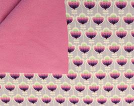 Softshell Blumen Fliedergrau-Pink
