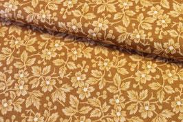 Baumwollstoff Blüten braun-beige