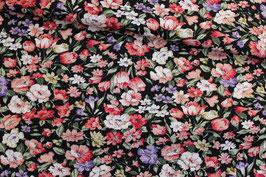 * Reststück 90cm * Baumwoll Popeline Blumen pink/lila auf schwarz