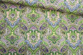 Baumwollstoff Paisely grün rosa lila blau