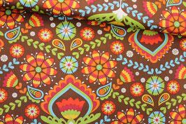 Baumwollstoff florales Muster auf braun