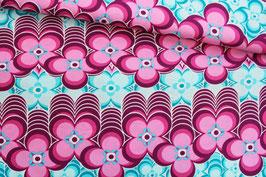 Baumwollstoff Retro-Blumenmuster pink-türkis
