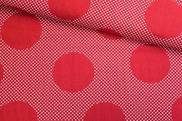 Baumwollstoff große und kleine Punkte rot-weiß