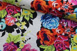 Jersey grau meliert Blumenmuster