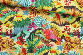 Baumwollstoff Dschungelmotiv mit exotischen Vögeln