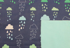 Softshell Wolken Dunkelblau-Hellblau