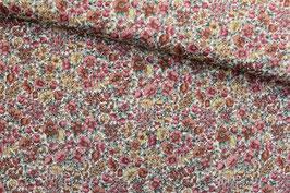Baumwollstoff Streublumen rot/gelb/braun auf ecru