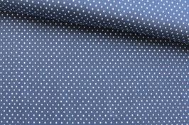 Baumwollstoff Swafing Punkte weiß auf dunkelblau