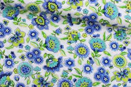 Baumwollstoff blaue Blumen grüne Ranken auf weiß