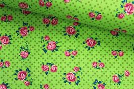 Jersey Blumen und Punkte auf hellgrün