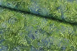 Baumwollstoff Batik Blumen auf Karo