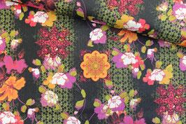 Baumwollstoff David Textiles Blumen auf schwarz