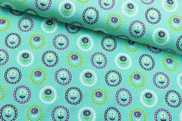 Jersey buntes Blumenmuster auf mintblau