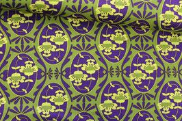 Baumwollstoff Retro-Blumenmuster lila-grün