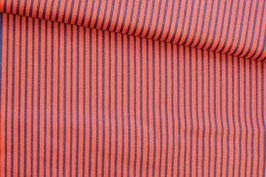 Baumwollstoff rot-blau gestreift