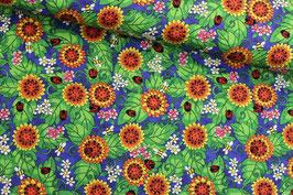Baumwollstoff Quilting Treasures Blumen und Käfer