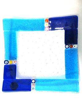 ベネチアンガラス飾皿A  MURANO L        AA3139 Blue