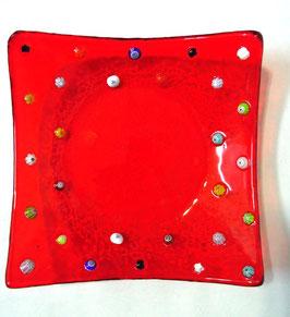 ベネチアンガラス飾皿A FREZZERIA M        AA3019 Red