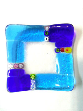 ベネチアンガラス飾皿A  MURANO S         AA3137 Blue