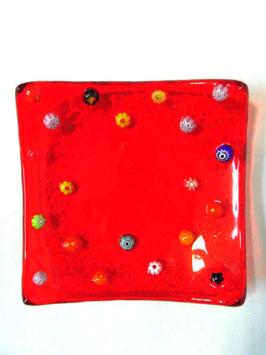 ベネチアンガラス飾皿A FREZZERIA S         AA3018 Red