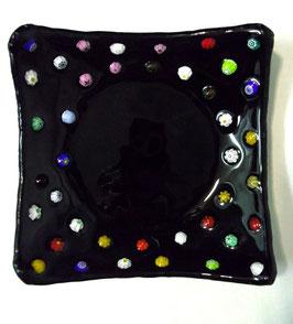 ベネチアンガラス飾皿A FREZZERIA M        AA3019 Black
