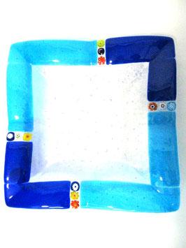 ベネチアンガラス飾皿B  MURANO L        AA3134 Blue