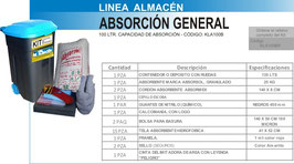 KLA100B KIT CONTROL DERRAMES LINEA ALMACEN 100 LTS CAPACIDAD DE ABSORCION
