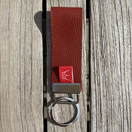 Leder-Schlüsselanhänger rotbraun