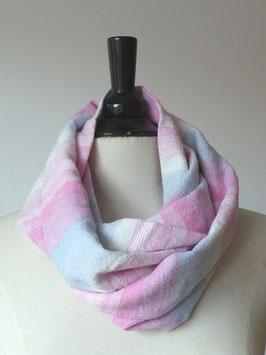 Rundschal | Leinen | Streifen |rosa |hellblau |natur