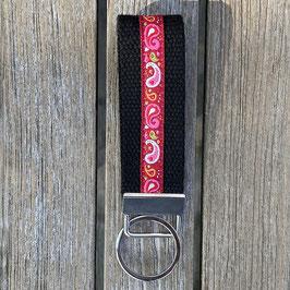 Webband-Schlüsselanhänger Paisley rot auf schwarz