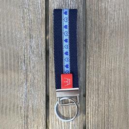 Webband-Schlüsselanhänger blaue Herzen