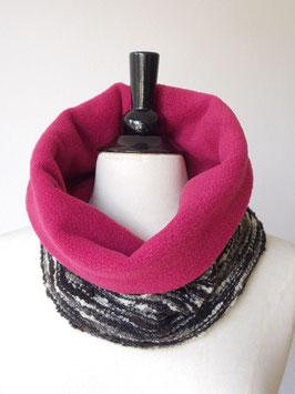 Rundschal mit Fleece-Futter in pink und fuchsia