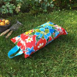 Garten-Kniekissen | rot | Hibiskus | Griffe türkis