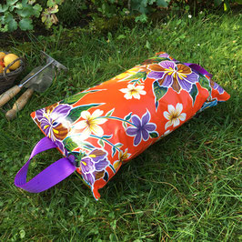 Garten-Kniekissen | orange | Hibiskus | Griffe violett