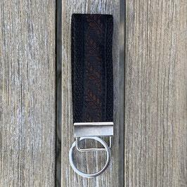 Webband-Schlüsselanhänger Ranken rost auf schwarz