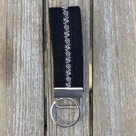Webband-Schlüsselanhänger Blumenranken auf schwarz
