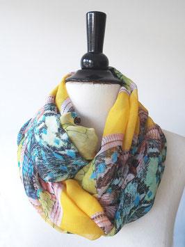 Rundschal | Chiffon |florales Muster auf gelb