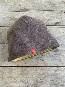 Angora-Jersey Mütze | braun meliert