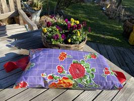Garten-Kniekissen | violett | Karo Blumen | Griffe rot