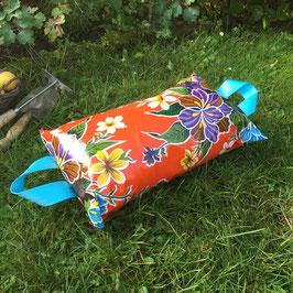 Garten-Kniekissen | orange | Hibiskus | Griffe türkis
