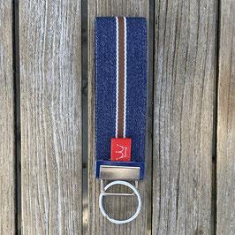 Webband-Schlüsselanhänger jeansblau mit Streifen