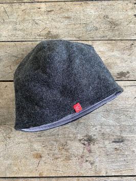 Schurwoll-Mütze | anthrazit meliert