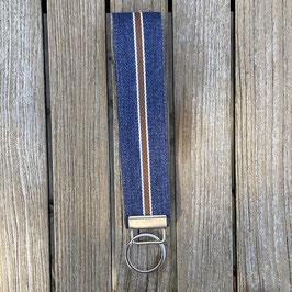 Webband-Schlüsselanhänger jeansblau mit Streifen extralang