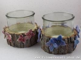 Rinden-Windlicht Hortensienblüten Blau oder Rosa