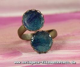 """Doppelring """"Blume"""" Blau"""