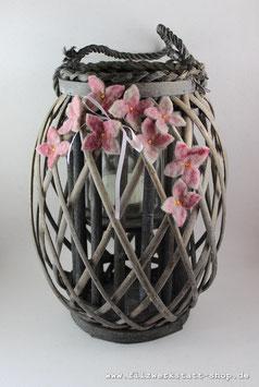 Großes Windlicht Hortensienblüten Rosa