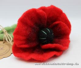 Filz-Blume roter Mohn, bestickt